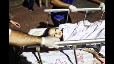 A wounded girl is taken to a hospital in Istanbul.