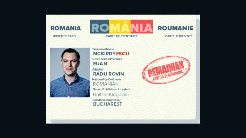 The website pairs Europhile Brits with a sympathetic Romanian and generates a mock-up Romanian ID card, complete with Romanian-icized name.
