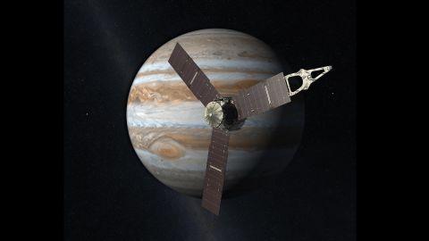 This artist rendering shows Juno orbiting Jupiter.