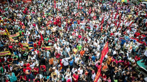 Large crowds turned out to show their support to Duterte in Manila on June 30. Duterte won the 2016 election with 39% of the vote.