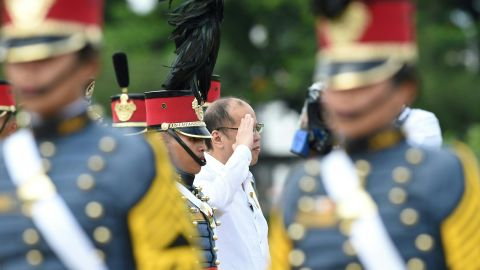 """Outgoing Philippines president Benigno Aquino (center), who was elected in 2010 for a six year term, told CNN Philippines he hoped he had left the Filipino population<a href=""""http://cnnphilippines.com/life/culture/politics/2016/05/12/pnoy-presidency.html"""" target=""""_blank"""" target=""""_blank""""> feeling empowered</a>."""