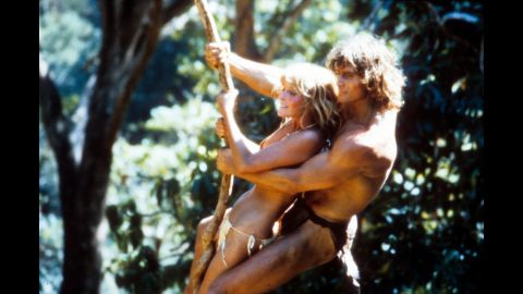 """The Tarzan franchise pretty much went dark in the '70s, but returned for a sexy swing with Bo Derek and Miles O'Keeffe in 1981's """"Tarzan, The Ape Man,"""" panned by the critics, despite the presence of the esteemed actor (and future Dumbledore) Richard Harris as Jane's father.  Film critic Leonard Maltin called the movie """"deranged."""""""