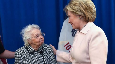 """Ruline Steininger, 103, was one of the first people in Iowa to vote for Hillary Clinton <a href=""""http://www.cnn.com/2016/09/30/politics/103-ruline-steininger-hillary-clinton/index.html"""">in September</a>. The former schoolteacher, who cast her first vote for Franklin D. Roosevelt in 1936, said that staying politically active kept her young but also <a href=""""http://www.desmoinesregister.com/story/news/elections/presidential/caucus/2016/01/29/iowan-ruline-steininger-hillary-clinton-presidential-vote/79528196/"""" target=""""_blank"""" target=""""_blank"""">told her local paper</a> that the secret to her long life was """"I just keep not dying."""" She eventually did, in February."""