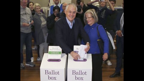 Australian Prime Minister Malcolm Turnbull and his wife Lucy cast their votes in the federal election on Saturday, July 2.