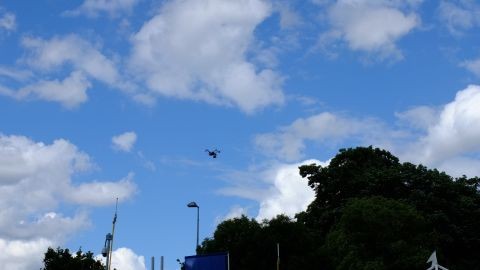 A drone keeps track of the action in the skies above the circuit.