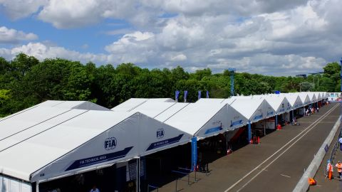 The pit lane is quiet for most of the race...