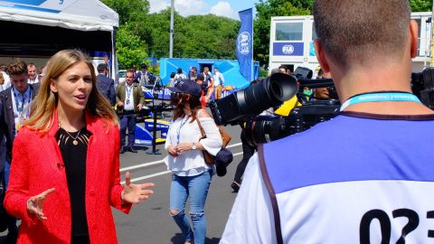 CNN Supercharged presenter Nicki Shields hard at work.