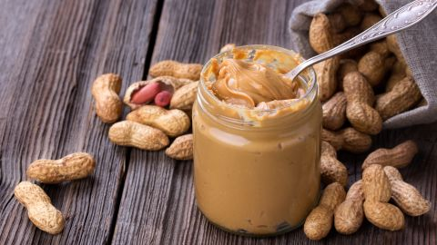 Peanut butter fans, rejoice! Peanuts are a great source of monounsaturated fat, but watch out for sugar! Try to stick to natural versions, and watch your portions. Like all nuts, peanuts are high in calories.