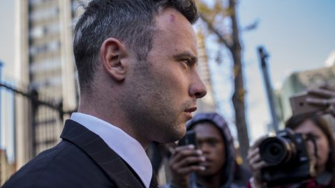 PRETORIA, SOUTH AFRICA - JUNE 15: Oscar Pistorius leaves the North Gauteng High Court for lunch after removing his removing prosthetic legs earlier by his defense counsel Barry Roux on June 15, 2016 in Pretoria, South Africa. Having had his conviction upgraded to murder in December 2015, Paralympian athlete Oscar Pistorius is attending his sentencing hearing and will be returned to jail for the murder of his girlfriend, Reeva Steenkamp, on February 14th 2013. The hearing is expected to last five days. (Photo by Charlie Shoemaker/Getty Images)