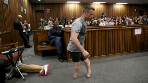 """Pistorius walks without his prosthetic legs during <a href=""""http://www.cnn.com/2016/06/15/africa/oscar-pistorius-sentencing-hearing/"""" target=""""_blank"""">his sentencing hearing</a> in Pretoria on Wednesday, June 15. His attorney was arguing that he was a vulnerable figure who should receive a lesser sentence for murder."""