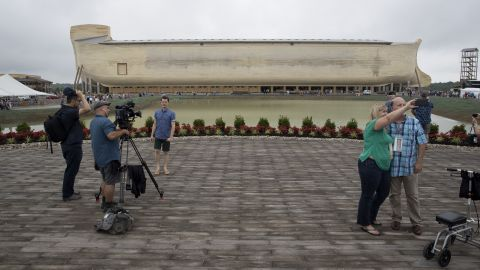 """People film themselves at the <a href=""""https://arkencounter.com"""" target=""""_blank"""" target=""""_blank"""">Ark Encounter,</a> a theme park in Williamstown, Kentucky, on Tuesday, July 5. The park, with its modern interpretation of Noah's Ark, opens to the public on Thursday, July 7."""