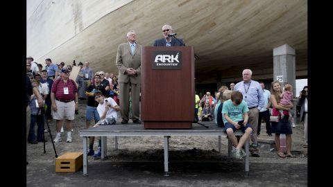 Park founder Ken Ham speaks at the ceremony.
