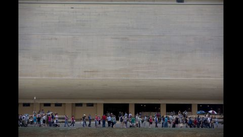 Visitors line up for a preview tour of the ark.