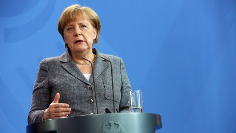 German Chancellor Angela Merkel attends a joint press conference with the Argentinian President at the Chancellery in Berlin on July 5, 2016.  / AFP / Adam BERRY        (Photo credit should read ADAM BERRY/AFP/Getty Images)