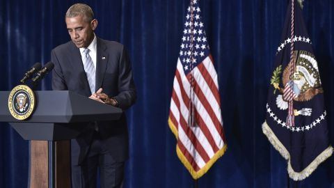President Barack Obama speaks on the recent shootings in the US, at a hotel in Warsaw, on July 8, 2016.