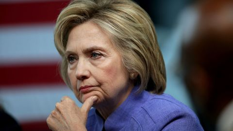 HAMPTON, VA - JUNE 15:  Democratic presidential candidate Hillary Clinton participates in a round table conversation on national security at the Virginia Air and Space Center June 15, 2016 in Hampton, Virginia. Following the nation's final presidential primary in the District of Columbia on Tuesday, it is clear that Clinton has won enough votes to be her party's standard bearer in this fall's election.  (Photo by Chip Somodevilla/Getty Images)
