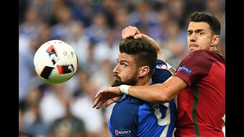 Olivier Giroud was kept in check by Portugal's Jose Fonte.