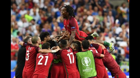 Eder's 109th minute strike sparked wild celebrations as Portugal's players ran to congratulate each other.