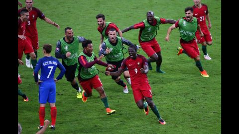 Eder, a substitute, ran away in delight after firing home an unstoppable effort.