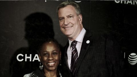 """New York City Mayor Bill de Blasio (R) and wife Chirlane McCray attend the """"Begin Again' Closing Night Premiere during the 2014 Tribeca Film Festival at BMCC Tribeca PAC on April 26, 2014 in New York City."""