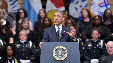 """U.S. President Barack Obama speaks during <a href=""""http://www.cnn.com/2016/07/12/us/dallas-police-shooting-officers-memorial/index.html"""" target=""""_blank"""">an interfaith memorial service</a> for the victims of the Dallas police shooting on Tuesday, July 12. Obama sought to unify the country during the somber memorial in Dallas for the five police officers slain in a sniper ambush during what had been a peaceful protest. The incident occurred amid a tragic week for the nation that saw Alton Sterling in Louisiana and Philando Castile in Minnesota killed during encounters with police."""