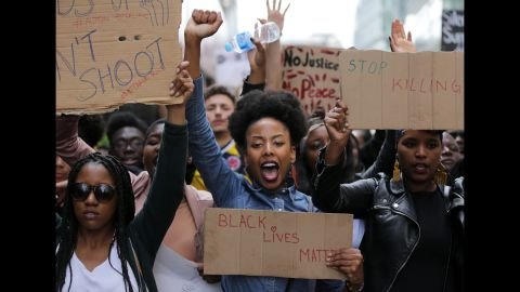 Demonstrations have popped up in cities around the world, including this one in London on July 10, 2016, following the most recent police shootings.