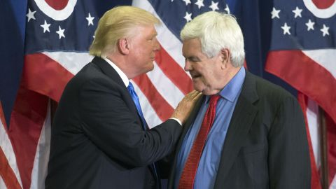 """In this photo taken July 6, 2016, Republican Presidential candidate Donald Trump and former House Speaker Newt Gingrich share the stage during a campaign rally  in Cincinnati. Running mate or not, """"Newt Gingrich is going to be involved with our government,""""  Republican presidential candidate Donald Trump has said.  (AP Photo/John Minchillo)"""