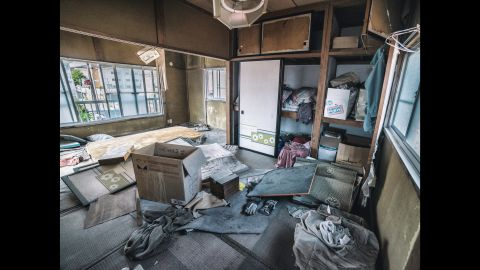 An abandoned house, seemingly untouched since the disasters struck.