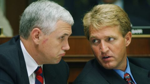 Pence talks with US Sen. Jeff Flake in 2002, during the markup of a bill that would establish the Department of Homeland Security.