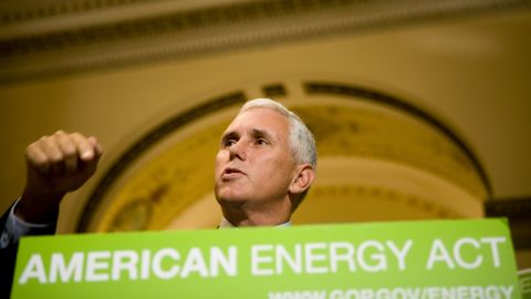 Pence speaks at a 2008 news conference in Washington, DC. Pence and other House Republicans were calling on House Speaker Nancy Pelosi to schedule a vote on energy legislation to help lower gasoline prices.