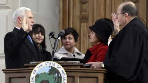 Pence is sworn in as Indiana's 50th governor in 2013.