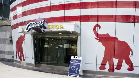 Windows at the team shop for the Cleveland Cavaliers are decorated for the Republican National Convention on July 11, 2016 in Cleveland, Ohio.