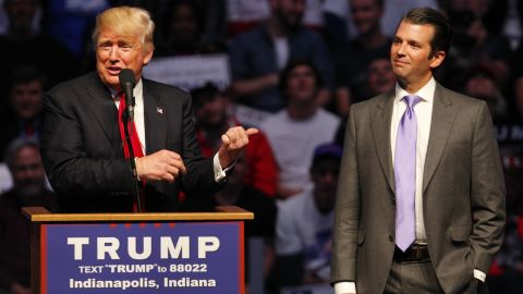 """Presumptive Republican nominee Donald Trump introduces his son Donald Trump Jr. as he addressed a crowd this April in Indianapolis. Trump Jr. has said that if his father becomes president, <a href=""""http://www.eenews.net/stories/1060037104"""" target=""""_blank"""" target=""""_blank"""">he's interested in being</a> his secretary of the Interior."""