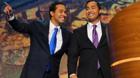 U.S. Rep. Joaquin Castro of Texas, left, and his twin brother then-San Antonio Mayor Julian Castro at the 2012 Democratic National Convention in Charlotte, North Carolina. Now secretary of the Department of Housing and Urban Development, Julian Castro is a contender to be the Democratic vice-president nominee.