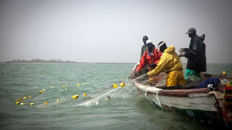 Fishermen hauling in their nets.