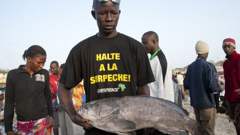 "Fish monger with T-shirt reading ""stop overfishing"" at Soumbedioune fish market in Dakar, Senegal."