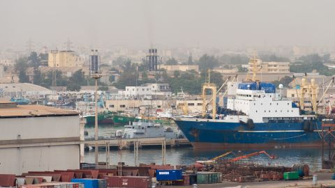 The Russian flagged fishing trawler Oleg Naydenov is seen moored at Dakar port, following the vessel's arrest by the Senegalese authorities for suspected illegal fishing in the Senegalese EEZ.  The ship was detected by a French military plane on 23 December 2013.