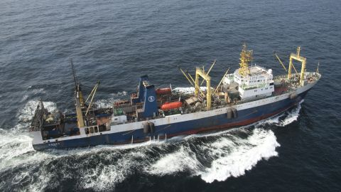 The Kovas Lithuanian flagged fishing trawler at work 30 miles off the coast of Senegal.  The Kovas is a massive super trawler operating in West Africa. With 4,544 m3 of fish hold capacity, it contributes to global overfishing by contributing to the depletion of stocks of horse and chub mackerel, sardines and sardinella within the region.