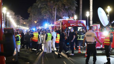 """Tony Molina, a U.S. police officer on vacation in Nice, witnessed the terrible scene from his hotel room. He told CNN he thought he heard between 30 and 40 gunshots. """"I saw the truck right below us and it had already driven down the boardwalk for a half a mile."""""""