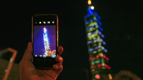 Taiwan skyscraper Taipei 101 is lit in the colors of the French flag on July 15.