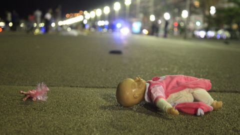 A doll is seen at the scene of the attack on the Promenade des Anglais.
