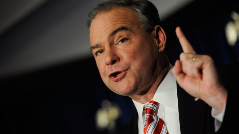 U.S. Senator-elect Tim Kaine speaks to supporters at the Downtown Richmond Marriot after winning the Virginia U.S. Senate seat on November 6, 2012 in Richmond, Virginia.