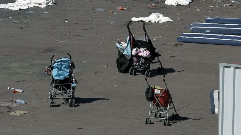 Baby strollers are seen on the Promenade des Anglais in Nice, France, on Friday, July 15. A 31-year-old native of Tunisia and resident of Nice drove into a crowd during the southern French city's Bastille Day celebrations around 10:45 p.m. on Thursday, July 14, killing at least 84 people and leaving around 202 injured.