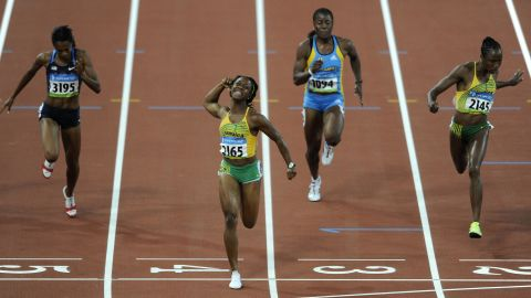 At Beijing 2008, two and a half years before she married longtime partner Jason Pryce, Fraser led a Jamaican clean sweep of the Olympic 100m medals as Sherone Simpson and Kerron Stewart tied for silver.