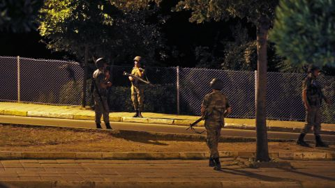 Turkish soldiers are seen on the Asian side of Istanbul.<br />