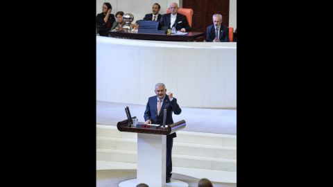 Turkey Prime Minister Binali Yildirim addresses the Turkish Parliament after the failed coup attempt.