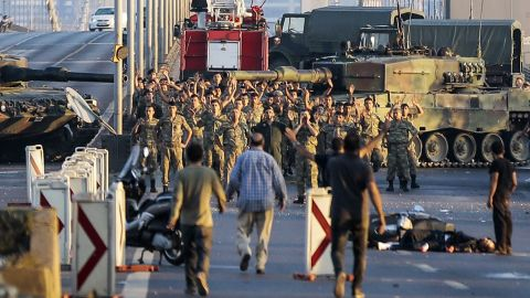 Soldiers involved in the coup attempt surrender on Bosphorus bridge with their hands raised on July 16, 2016