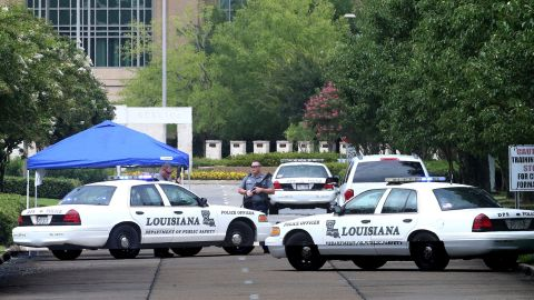 BATON ROUGE, LA - JULY 17:  Law enforcement officers block the entrance to the Louisiana State Police headquarters after 3 police officers were killed early this morning on July 17, 2016 in Baton Rouge, Louisiana. According to reports, one suspect has been killed by police.  (Photo by Sean Gardner/Getty Images