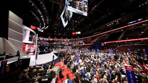 Delegates take part in the opening of the first day of the Republican National Convention on July 18, 2016, at the Quicken Loans Arena in Cleveland, Ohio.