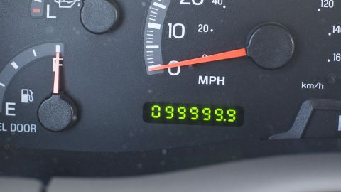 Odometer on a Ford SUV reaching a mileage milestone of 100,000 miles. (Photo by Robert Daemmrich Photography Inc/Corbis via Getty Images)